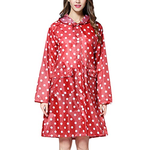 WOZOW Ladies Active Outdoor Rainwear Windbreaker Jacket Polka Dots Print Hooded Lightweight Waterproof Windproof Long Style Raincoat for Women