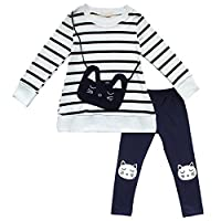 TiaoBug 2Pcs Girls Long Sleeve Cat Bag Stripe Top T Shirt Pants Leggings Outfits Suit 5-6 Years White, Navy