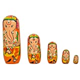 #5: Fine Craft India Set of 5Pcs Hand Painted Religious Lord Ganesha Wooden Indian God