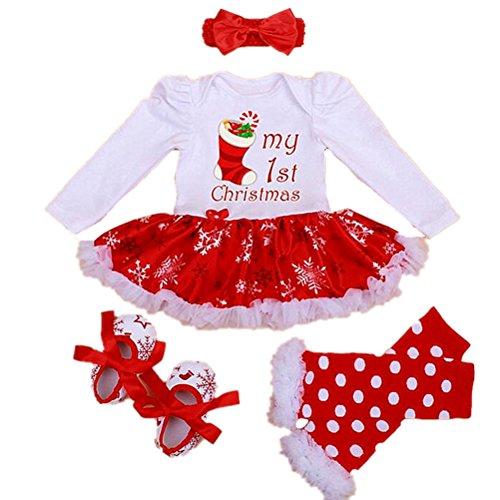 Sallyshiny Christmas Costume Newborn Baby Girl Romper Dress Outfit Bodysuit Tutu Skirt Clothes 4pcs/Set Party Dresses Headband Shoes Leg Warmer (6-12 Months, Christmas Stocking)