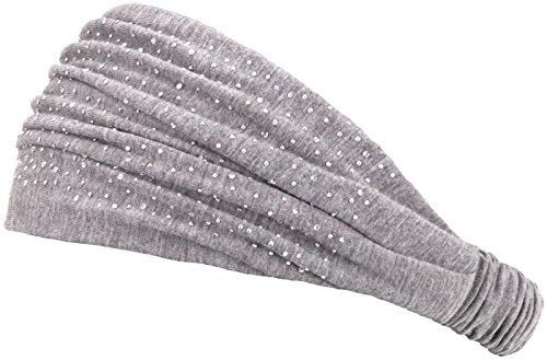 Compagno Stirnband Damen Sommer Mädchen Haarband mit Strass Glitzer elastisch Boho Einheitsgröße, Farbe:Hellgrau -