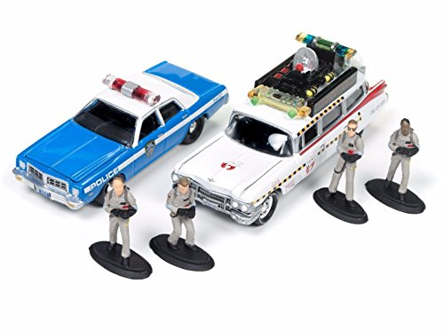 Ghostbusters Box Diorama 4 figures and 2 car models ecto-1 a + Police Car Scale 1: original 64 Johnny lightnining