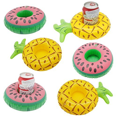 cazul-goods-inflatable-pool-drink-holder-3-pieces-watermelon-and-3-pieces-pineapple-design-set-of-6