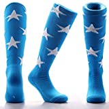 Samson Hosiery ® BLUE & WHITE STARS Print Funky Novelty Fashion Gift Socks Football Rugby Sports And Casual Knee High Socks For Men Women Kids Unisex