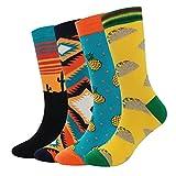 Herren Socken Bunt - Baumwolle Socken Herren, Herrensocken Sneaker Füßlinge Cotton, 4 Paar Bunt Gemusterte Herren Socken Viele Trendige Farben, Männer Socken 37-45 (Pizza-4 Paar)