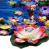 HAPPY ELEMENTS Romantique solaire de puissance LED flottante nuit lumière fleur de lotus pour jardin piscine étang