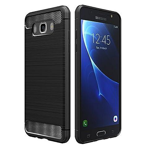 Coque Samsung Galaxy J5 2016, Simpeak Noir Silicone Gel Etui Housse Samsung Galaxy J5 2016 (J510FN) Souple Coque de Protection pour Samsung J5 2016 Fibre de Carbone Case (5,2 Pouces) - Noir