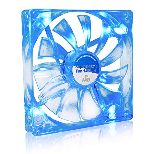 AAB Cooling Super Silent Fan 14 Blue LED - Leise und Efizient 140mm Gehäuselüfter mit 4 Anti-Vibration-Pads und Blauer LED Hintergrundbeleuchtung - Ventilator Leise | Lüfter | Kühlung | CPU Kühler