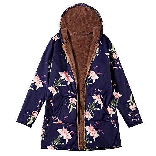 Mymyguoe Damen Wintermantel Warm Winterparkas Outwear mit Blumendruck und Kapuze Taschen Vintage Große Größe Kurz Mantel Coat mit...
