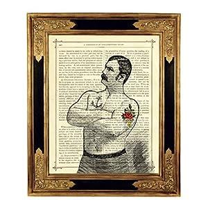 Starker Mann Boxer Gentleman Kunstdruck auf viktorianischer Buchseite Steampunk Bild Poster Tattoo Geschenk ungerahmt
