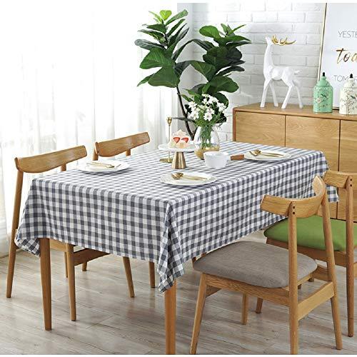 Vlunt Nappes à Carreaux Rectangulaires Carrees Anti Taches, Fete Festives Nappes de Table en Lin Tissu - Gris, G:140 * 220CM