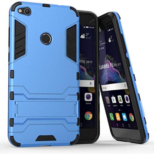Huawei P8 Lite 2017 Funda, CHcase Dura Rigida Ultrafina Casco Funda Cascara con soporte para Huawei P8 Lite 2017 -Blue Armadura