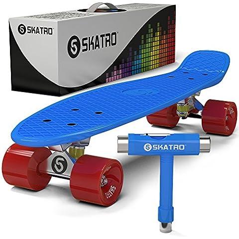 Skatro - Skateboard Mini Cruiser. Tavola completa in plastica di 22 pollici in stile Retro