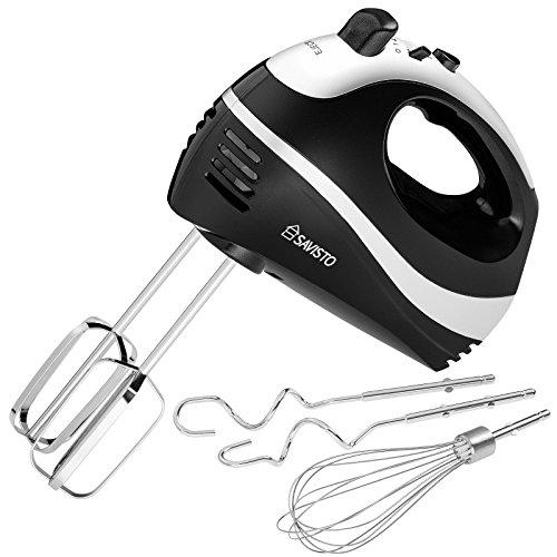 Savisto 300W Elektrisches Handmixer mit Quirl, Knethaken und Schneebesen Aufsatz – 5 Geschwindigkeitsstufen und Turbotaste Handrührgerät - Schwarz / Grau
