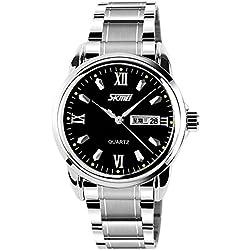 Amstt Herren Edelstahl-Quarzuhr Analog-Digital-Uhr Herren-Leucht Kalender Schwarze Uhren Uhren