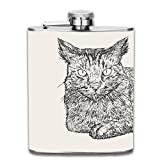 dfegyfr Sitting Cat Hand 7oz Liquor Whiskey Flask and Premium Box - Stainless Steel and Leak Proof