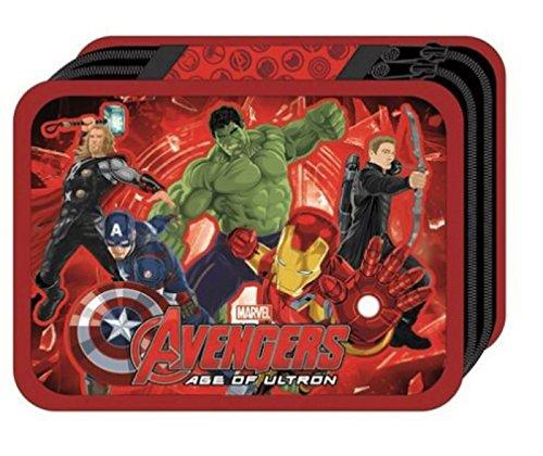 Avengers-Estuche escolar rellena de pinturas y accesorios de Iron Man Avengers Hulk Captain America
