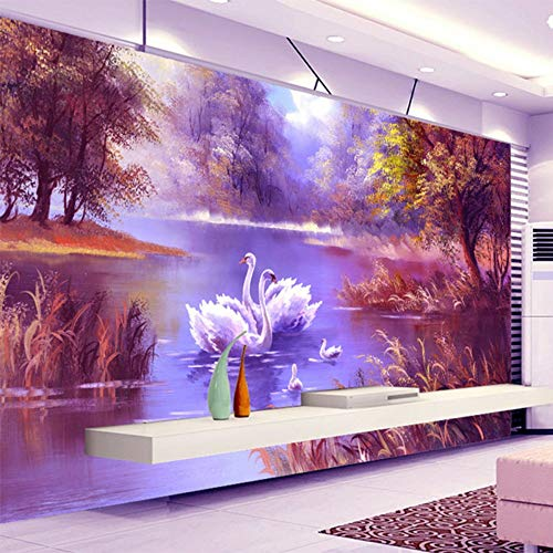 Sucsaistat Tapete Wandbild 3D Foto Romantische Schöne Waldsee Schwan Ölgemälde Wandbilder Galerie Wohnzimmer Wanddekoration Tapete, 300 cm (B) X 210 cm (H) - Moderne Damast-galerie