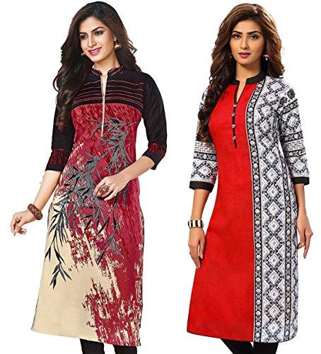 Jevi Prints Women's Kurti Fabrics (Pack Of 2) (Kavya-1207-Saheli-1520_Multi-Coloured)