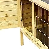 Hasenstall / Kaninchenstall STELLA aus massivem Tannen-Holz in 92x45x70 cm - Kleintier-Stall für Draußen - Wetterfester Schutz & Rückzugsort für Hase & Kaninchen im Sommer & Winter - TIMBO - 5