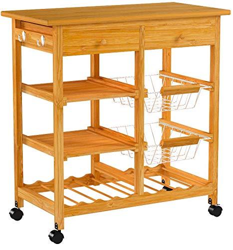 SoBuy Carrito de cocina, estantería de cocina de bambú de alta calidad FKW06-N, 72x37x75cm