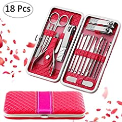 Idea Regalo - Fixget Manicure Set, 18 Pcs Professionale Pedicure Set Tagliaunghie Set Clipper Remover con Portable Travel Case (Rosso)