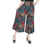 NJunicorn Uncle Damen Bequem Elastische Taille Baumwolle&Leinen Hosenrock Weite Bein Blumenmuster Lange Hose Pumphose Schlabberhose (Art 21,XL)