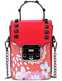 Zibuyu Women PU Leather Mini Floral Print Chain Bag Shoulder Crossbody Bag(Red)