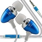 ONX3 Motorola RAZR XT925 HD Premium Quality in Ear Buds mani Stereo Headset gratuita cuffie con il microfono incorporato Mic & tasto ON-OFF (Baby Blue)