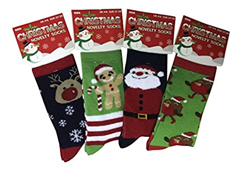 4 Paar Kinder Grün Weihnachtssocken in 4 verschiedene Arten (37-39