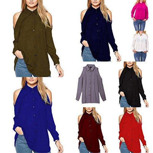 Bigood T-shirt Epaule Dénudée Femme Mousseline de Soie Chemise Blouse Top Manches Longues Bleu Foncé