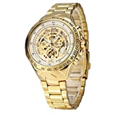 XLORDX Luxus Herrenuhr Mechanische Automatik Uhr Römisch Skelett Gold Edelstahl Armbanduhr Sportuhr Weiß
