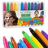 Kinderschminke Face Paint Kreiden Set | 12 Farben kein Durcheinander, drehbare Farbstifte | Beste Qualität Body Painting Set | Körperfarbe für Kinder von Blue Squid