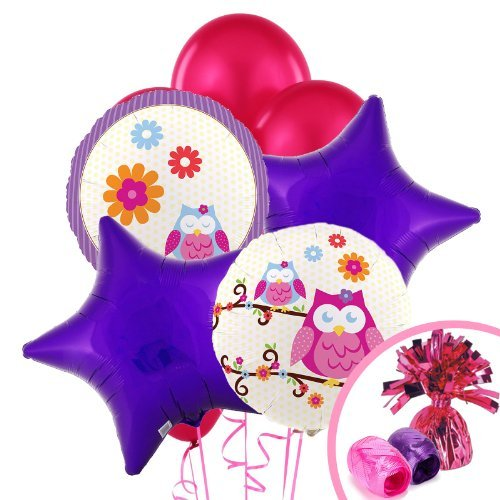 Owl Blossom Party Supplies - Balloon Bouquet by BirthdayExpress (Owl Supplies Party)