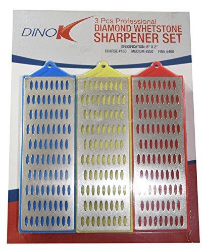 Dinok–großen 15,2x 5,1cm 3PC Diamant Schleifstein Set mit Rutschfeste Saugfuß, perfekt für Schärfen stechbeiteln, Holz arbeiten Werkzeuge und Messer, grob, mittel und fein Klassen