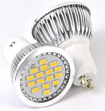 Ampoule à Leds de nouvelle génération, 7w sur 120°, 450 lumens, culot GU10, avec verre de protection, blanc chaud