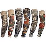 HaimoBurg Juego de 6 Mangas con Apariencia de Tatuaje temporales para Brazo (U)
