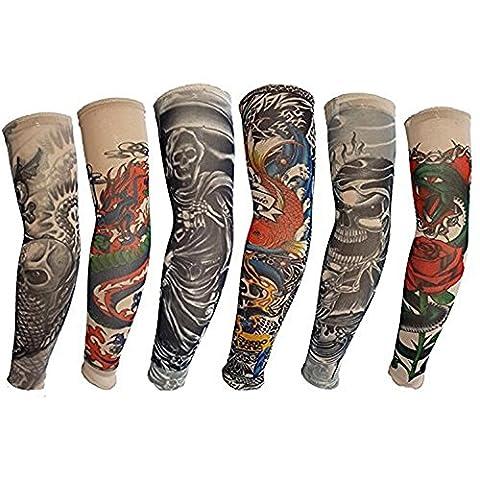 HaimoBurg Ensemble de Manchette Temporaire Faux Tatouages Tattoo Manches Bras Glissement Unisexe Couleur Aléatoire (U)