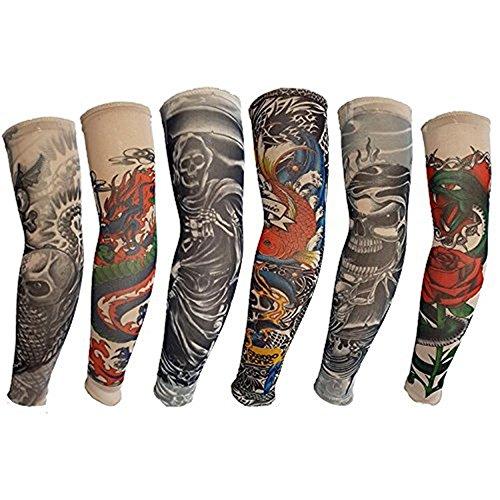 HaimoBurg 6 Stück Temporäre Gefälschte Slip Tattoo Sleeves Arm Strümpfe (And Männer Rock Roll Kostüme)