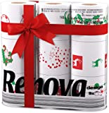 Renova White Print 2 Ply Christmas Xmas Toilet Tissue Paper Rolls (9 Rolls)