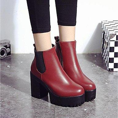 Bottes pour femmes Automne Hiver Chaussures Club D'Orsay en simili cuir deux pièces &Outdoor Carrière &bureauTalon occasionnels avec le ruban noir de Bourgogne Black