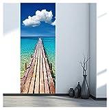 Kangrunmys 3D Sticker Mural, 1 Ensemble (2Pcs Inclus) Self-Adhensive PVC Vinyle Bois Pont à Mer Imprimé Art DéCor Amovible Affiche ScèNe Panne FenêTre Porte Stickers Muraux (Multicolor, 38.5 X200cm)