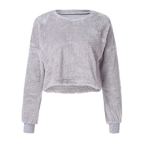 Felicove Damen Herbst Winter Langarmshirt Pullover Teddy-Fleece Mantel -