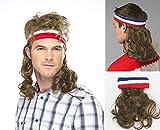 Unbekannt Vokuhila Kopfband dunkelblond mit Haaren Stirnband Perücke Hillbilly Headband