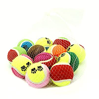 Tennis Balls For Dogs Set Of 12: Pet Toys For All Breeds And Sizes, Suitable To Play Fetch, Training, And Chewing, Colourful Paw Design, Strong Construction And Non-Toxic Materials