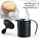 Little peuplier mousseur à lait double Filet à commande manuelle 396,9gram mousseur à cappuccino, café, thé, respectueuse (Double en acier inoxydable)