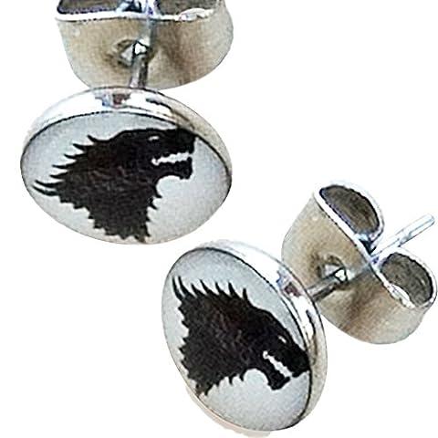 Game Of Thrones Bijoux - Game of Thrones. Direwolf 8mm inoxydable Boucles