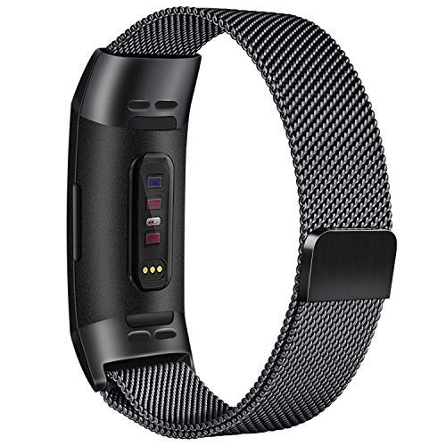 Tobfit Armband kompatibel mit Fitbit Charge 3, Milanese Schleife Edelstahl Verstellbare Ersatz Uhrenarmbänder mit Magnetverschluss für Fitbit Charge 3 Damen Herren (03 Schwarz, Large)