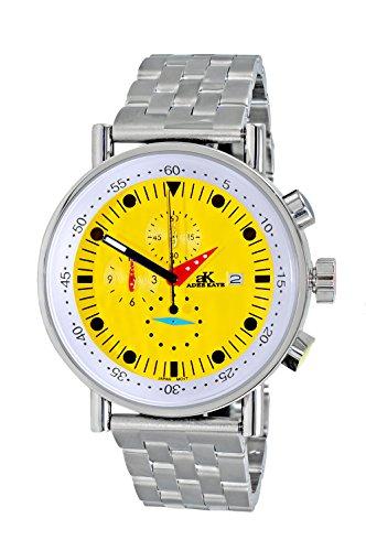 Adee Kaye Men's Quartz Stainless Steel Sport Watch, Color:Silver-Toned (Model: AK2268-50_YL)
