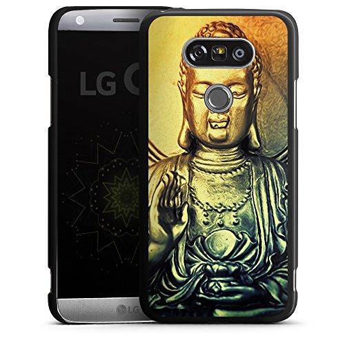 """artboxONE Handyhülle LG G5, schwarz Hard-Case Handyhülle """"Golden Buddah Case"""" - Tiere - Smartphone Case mit Kunstdruck hochwertiges Handycover von AD Design"""